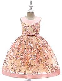 cfc7d399ece3 Vestito da damigella d onore per ragazze Abiti per bambina principessa fiore  Abiti senza maniche ricamo floreale pizzo…