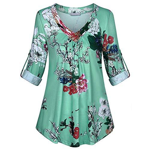 iHENGH Damen Frühling Sommer Top Bluse Bequem Lässig Mode Frauen Blusen Plus Size Langarm Print V Ausschnitt Button Pullover Tops Shirt(Blau, 3XL) (Pin-up-girl-outfits Halloween Für)