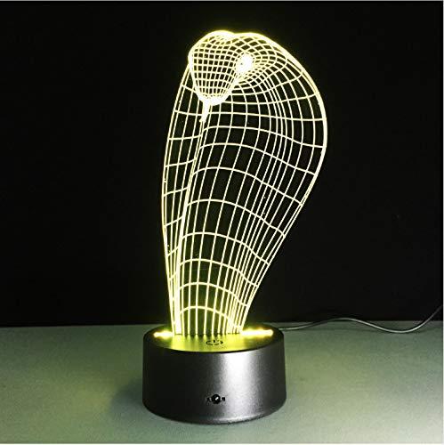 Lampada A Illusione Ottica 3D Cobra Lamp Sette Luci A Cambiamento Di Colore Led Night Touch Interruttore A Sfioramento