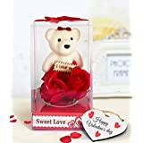TIED RIBBONS Valentines Special gift for Girlfriend Girls Wife Her Fiancee Friend Gift Pack(Teddy with Roses and Wooden Tag)