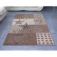 """Aspecto """"casa/corazón letras"""" nostalgic colección con estrellas de tejido plano interior/al aire libre alfombra, polipropileno, marrón, 120x 170cm"""