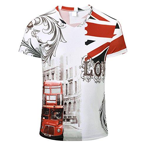 Chnli Men T-shirt Flag Print Base Slim Blouse Short Sleeve Tops Crew Neck Shirt Sport Casual Spring Summer