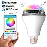 Jeslon sans fil E27RGB Ampoule LED à changement de couleur Haut-parleur intégré de musique Smartphone application gratuite pour Apple iPhone/iPad/iPod/appareils Android