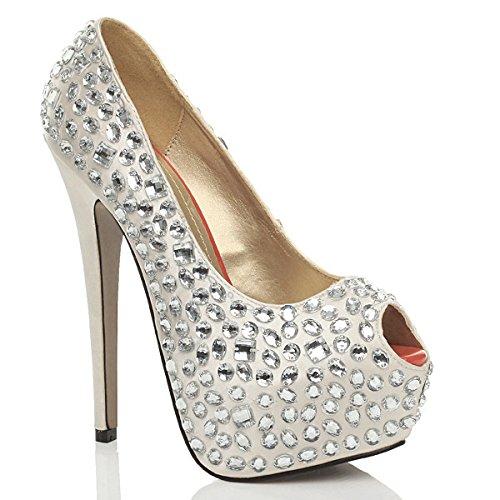 Donna tacco alto sandali plateau gemma apertura in punta décolleté scarpe taglia Bianco