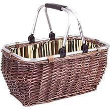 Cesta de mimbre con asa de aluminio (49x 25x 30cm)–Manejable cesta de la compra de mimbre