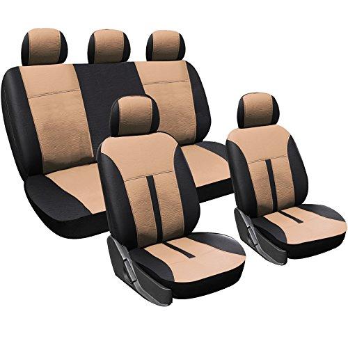 WOLTU AS7288 Seat Cover per Macchina Set Completo di Coprisedili per Auto Universali Protezione per Sedili Similpelle Beige+Nero