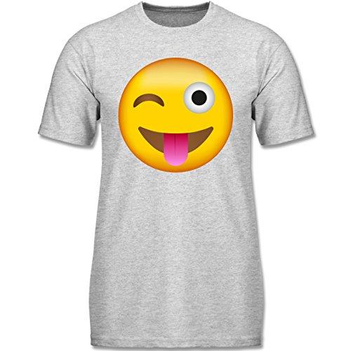 - Emoji Herausgestreckte Zunge - 104 (3-4 Jahre) - Grau Meliert - F140K - Jungen T-Shirt (Gruppen Von Drei Kostüme)