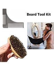 MAIKEHIGH Kit d'outils de barbe, y compris barbe barbe poignée + Brosse à barbe à barbe + Beard Shaper, coiffeuse à coiffeuse, outil pour homme Père petit ami