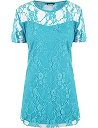 New Ladies Lace Lined Top Womens Plus Size Stretch Short Sleeve Top Sizes 14 - 28