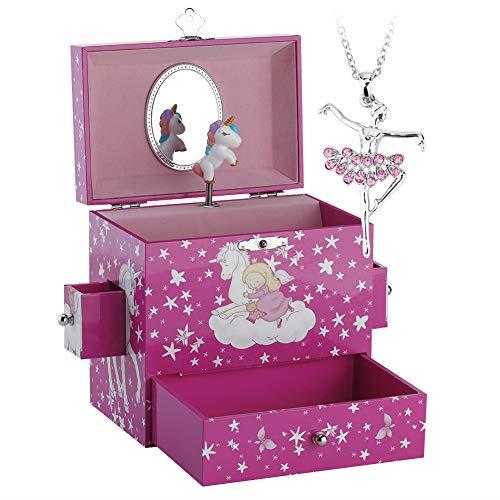 Kinder Musik - Glocke Schmuckkästchen - Box Speichern mit 3 Schubladen und Ballett Halsketten mit Wunderbar Einhorn Thema - Der Schwanensee Tune Rote Rose - Drei Center Schubladen