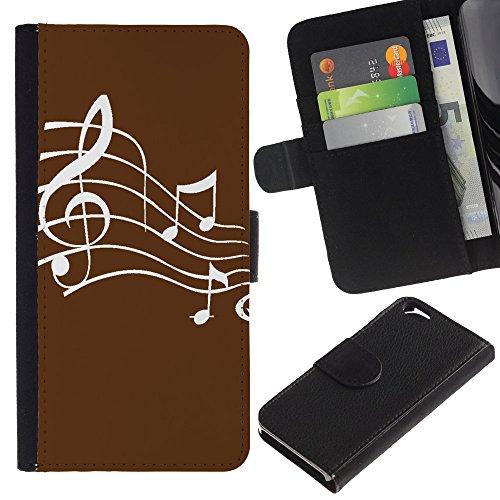 Graphic4You Musik Noten Muster Design Brieftasche Leder Hülle Case Schutzhülle für Apple iPhone 6 / 6S (Schwarz) Braun