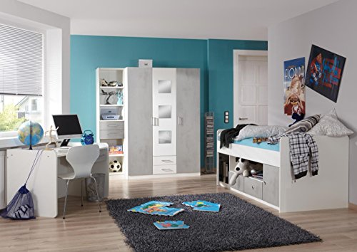lifestyle4living Jugendzimmer Komplett-Set in weiß und grau, 3-teilig für Mädchen und Junge mit Kleiderschrank, Bett und Schreibtisch