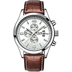 CIVO Men's White Decorative Sub Dial Japan Movement Luxury Brown Leather Band Wrist Watch Men Waterproof Business Casual Dress Watches Classic Simple Design Analogue Quartz Wristwatch for Men