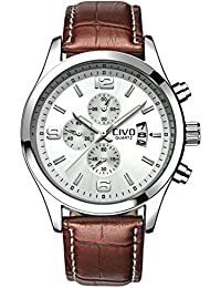 amazon co uk watch deals special offers civo men s white decorative sub dial movement luxury brown leather band wrist watch men waterproof business casual dress