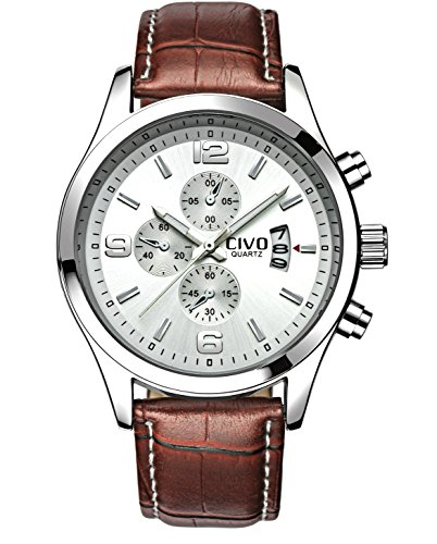 CIVO-Mens-White-Decorative-Sub-Dial-Japan-Movement-Luxury-Brown-Leather-Band-Wrist-Watch-Men-Waterproof-Business-Casual-Dress-Watches-Classic-Simple-Design-Analogue-Quartz-Wristwatch-for-Men