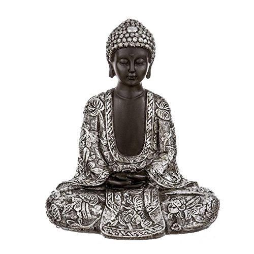 Dcasa – Figura buda mujer sentado resina 27.5 cm .