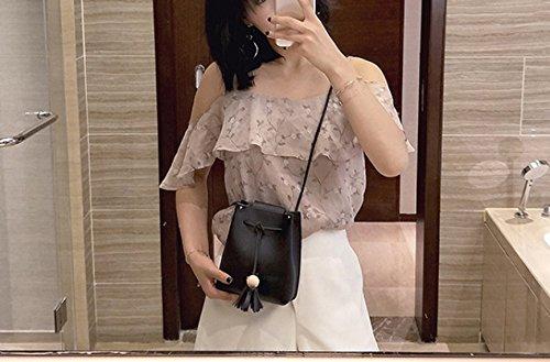 QPALZM 2017 Frau Fashion Drawstring Quaste Schulter Individualität Skew Tight Handtasche Black