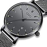 CIVO Herren Damen Uhren Unisex Ultra Dünne Minimalistische Wasserdicht Männer Uhren Elegant Luxus Geschäfts Beiläufig Uhr mit Schwarzes Milanese Mesh Uhrensocken Analog Quarz Uhren (Schwarz/Herren)