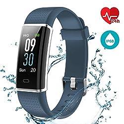 LATEC Fitness Tracker Uhr mit Pulsmesser, Smart Armbanduhr Wasserdicht IP68 (Blau)
