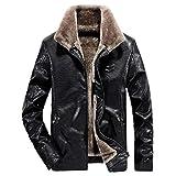 Manadlian Herren Lederjacke Winterjacke übergangsjacke Männer Mode Winter Revers Reißverschluss Tasche Kaschmir Nachahmung Verdickt Softshelljacke
