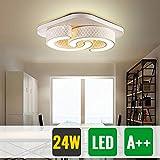HG® 24W Led- Deckenlampe Schlafzimmer Beleuchtung Warmweiß Deckenleuchte Weiß Decke Lampen decke Flur 265V Eßzimmer Leuchte [Energieklasse A++]