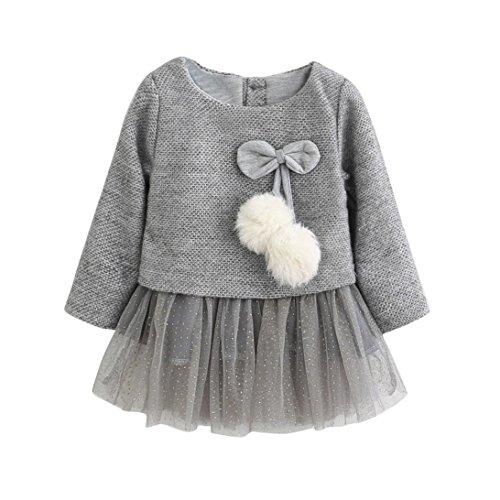 18 Monat Alt Kostüm Für - OverDose Kleinkind Baby Kind Mädchen Langarm Gestrickte Bogen Neugeborenen Tutu Prinzessin Kleid 0-24 Monate(18-24 Monate,A-Grau )