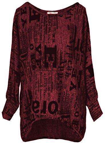 Emma & Giovanni - Oversize Langarmshirt/Pullover- Damen (XL/XXL, Bordeaux)