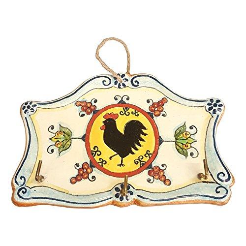 CERAMICHE D'ARTE PARRINI- cerámica italiana artísticas , llaveros, paños de cocina que cuelgan decorativos gallo , pintado a mano , fabricado en Italia Toscana