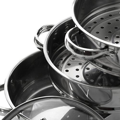 Premier Housewares Stainless Steel Steamer with Glass Lid, 22 cm Img 1 Zoom