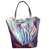 Holographic PU Shopper Large Tote Handbag Shoulder Bag for Women Silver