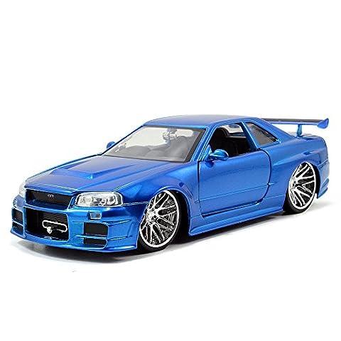 Brian`s Nissan Skyline GT-R (R34) 2002 blue Fast & Furious 7 1:24 Jada
