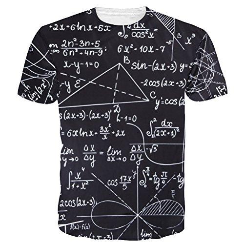 uideazone Sommer Juniors Mathe T-Shirts Alles über Gedruckte Zahl Kurzarm T-Shirt Top (Junior Kurzarm-shirt)