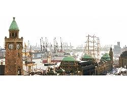 Postkarte PANORAMA +++ modern times von modern times +++ HAFENGEBURTSTAG-LANDUNGSBRÜCKEN * XXL +++ BK.EDITION HÜBNER, Marc
