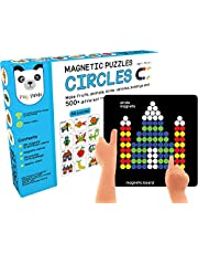 Play panda New Magnetic Puzzles Circles with 250 Colorful Magnets 100 Puzzles Magnetic Board and Display Stand
