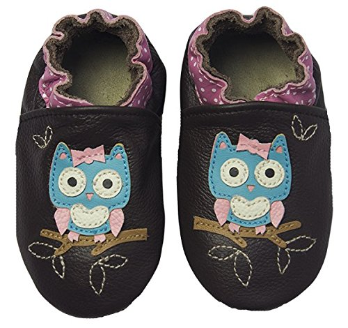 Rose & Chocolat - Rcc  Polka Owl Brown, Pantofole per bimbi Marrone (Braun (Brown1))