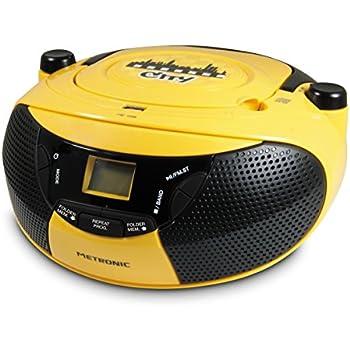 Metronic 477103 Radio / Lecteur CD / MP3 Portable City avec Port USB - Jaune et Noir
