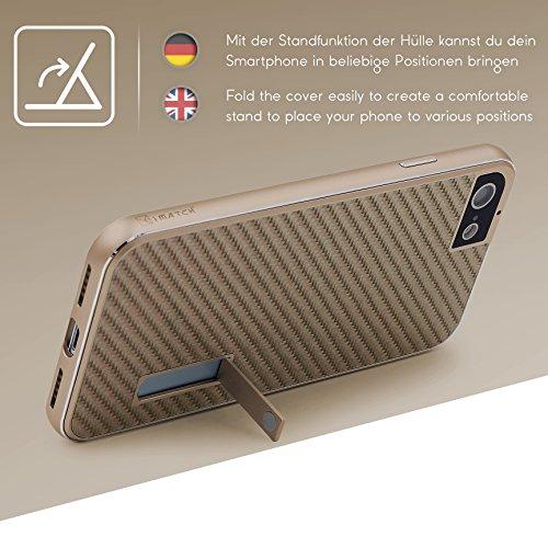Coque iPhone 7, Urcover Aluminium- Fibre de Carbone Housse Étui [avec Support] Téléphone Smartphone Noir - Argent pour Apple iPhone 7 Case Or / Champagne Or