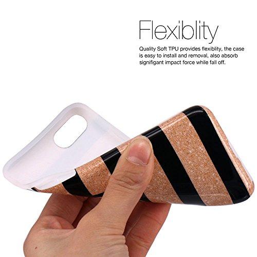 iPhone 7 Hülle, LOVONKI Himmel Blau Marmor Serie Flexible TPU Silikon Schutz Handy Hülle Handytasche HandyHülle Etui Schale Case Cover Tasche Schutzhülle für iPhone 7 Schwarz Gold Streifen
