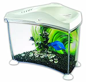 Marina betta plastic aquarium in graphite 7 liter white for Betta fish tanks amazon