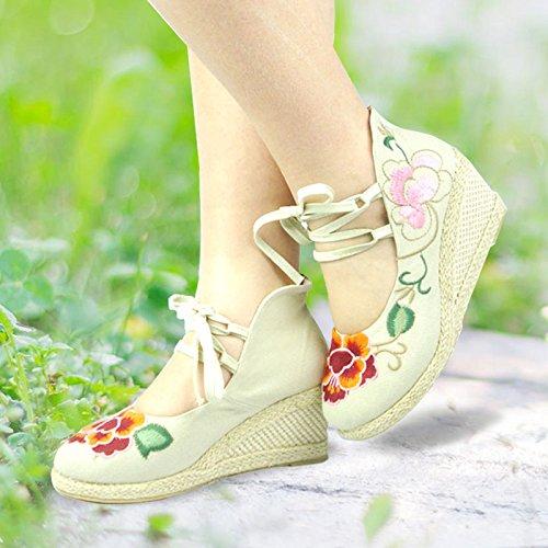 Kphy-linen Dalta Mode Chaussures Pour Chaussures Vieilles Chaussures Plates Beijing Brodé Style Folk Dentelle Compensées 37 Trente-cinq
