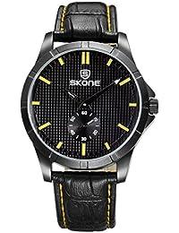 Skone 2016Caliente vender Hombres Vestido Reloj Pulsera de cuarzo reloj con pantalla calendario relojes de madera natural de madera de los hombres