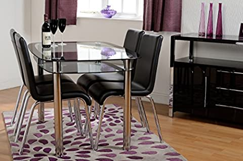 Budget Dining Table and with 4 Chairs, 7Star Glass Dining Table with Shelf and 4 Faux Leather with Chrome Frame