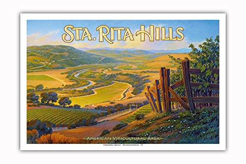 Pacifica Island Art - Weingüter in den Hügeln von Santa Rita - Central Coast AVA - Weinland Kalifornien Kunst von Kerne Erickson - Kunstdruck 31 x 46 cm -