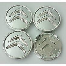 Juego de 4 tapacubos para Citroën, de 60 mm, tapas para llantas para C2, C4, C5, C6, de color plata con el logo cromado