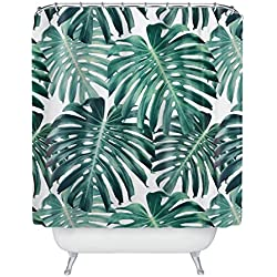Colour Kingdom tropischer Broadleaf Pflanzen wasserdichter Badezimmer Duschvorhang mit 12 Bad-Vorhang-Ringen