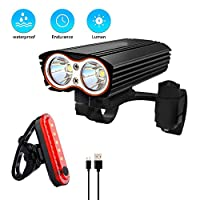Bike Light Set Bicycle Light Headlight Front and Tail Light Rear Back LED Flashlight 600 Lumens Waterproof USB Rechargeable for Mountain Bicycle Cycling Camping Sports
