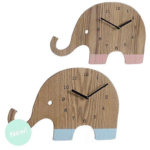 Dcasa - Reloj de Pared Madera Infantil Elefante - Rosa