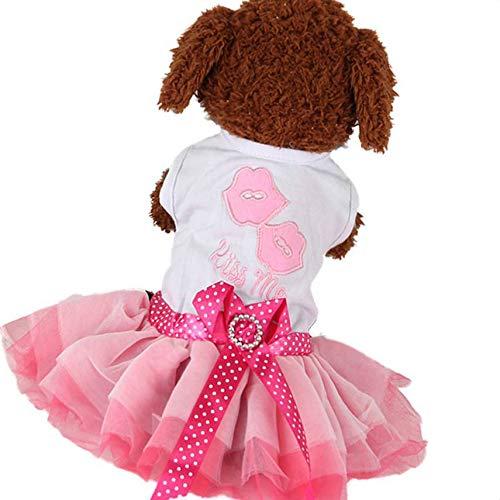 Floridivy Netter Hund/Katze-Haustier-Kleid Bowknot Luftblasen-Rock-Prinzessin Dress Kleidung Puppy Soft-Doggy-Kostüm