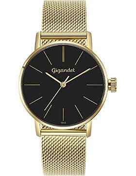 Gigandet Damen-Armbanduhr Minimalism Quarz Uhr Analog Milanaise Edelstahlarmband Gold Schwarz G43-023