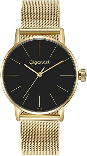 Gigandet Women's Quartz Wrist Watch Minimalism Analogue Stainless Steel Mesh Bracelet Gold Black G43-023